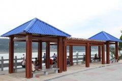 湖北宜昌风景区休闲凉亭秸秆纤维聚酯瓦工程案例