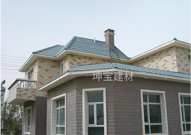 新型防腐屋面瓦合成树脂瓦别墅洋楼效果图