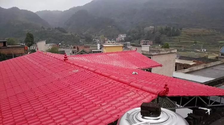 平顶楼房屋顶搭建合成树脂瓦大棚案例